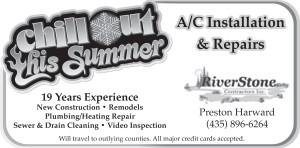 Advertisement design by Graphic Designer Dallas Price for Riverstone Contractors. Published in The Richfield Reaper 07/23/2014.