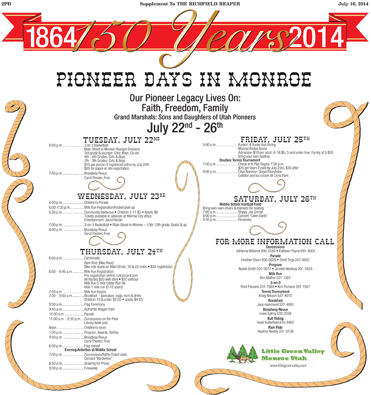Advertisement design by Graphic Designer Dallas Price for Monroe Cities 24th of July celebration. Published in The Richfield Reaper 07/16/2014.
