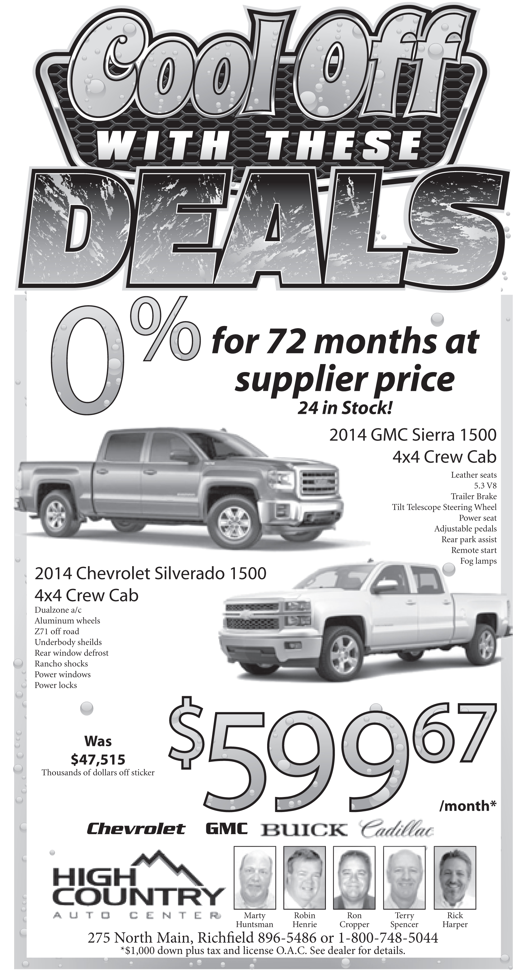 Advertisement design by Graphic Designer Dallas Price for High Country Auto. Published in The Richfield Reaper 08/17/2014.