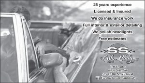 Advertisement design by Graphic Designer Dallas Price for SS Auto Body. Published in The Richfield Reaper 08/20/2014