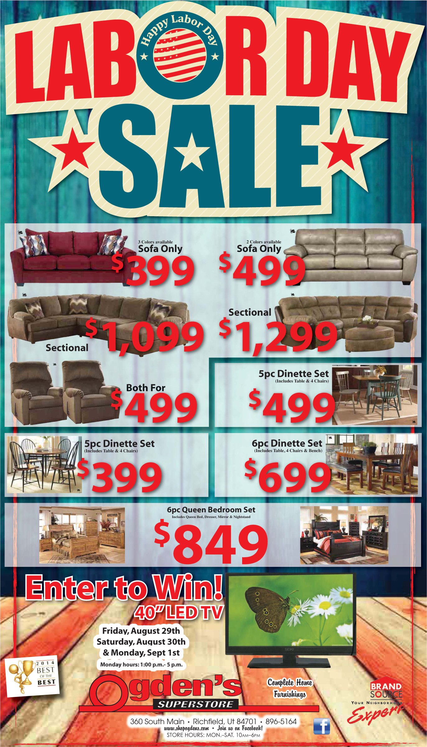 Advertisement design by Graphic Designer Dallas Price for Ogdens Superstore. Published in The Richfield Reaper 08/27/2014