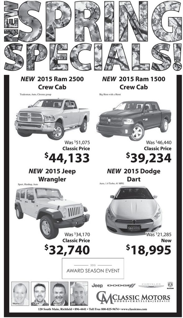 Classic Motors advertisement by Dallas Price. Published in The Richfield Reaper 4/8/15.
