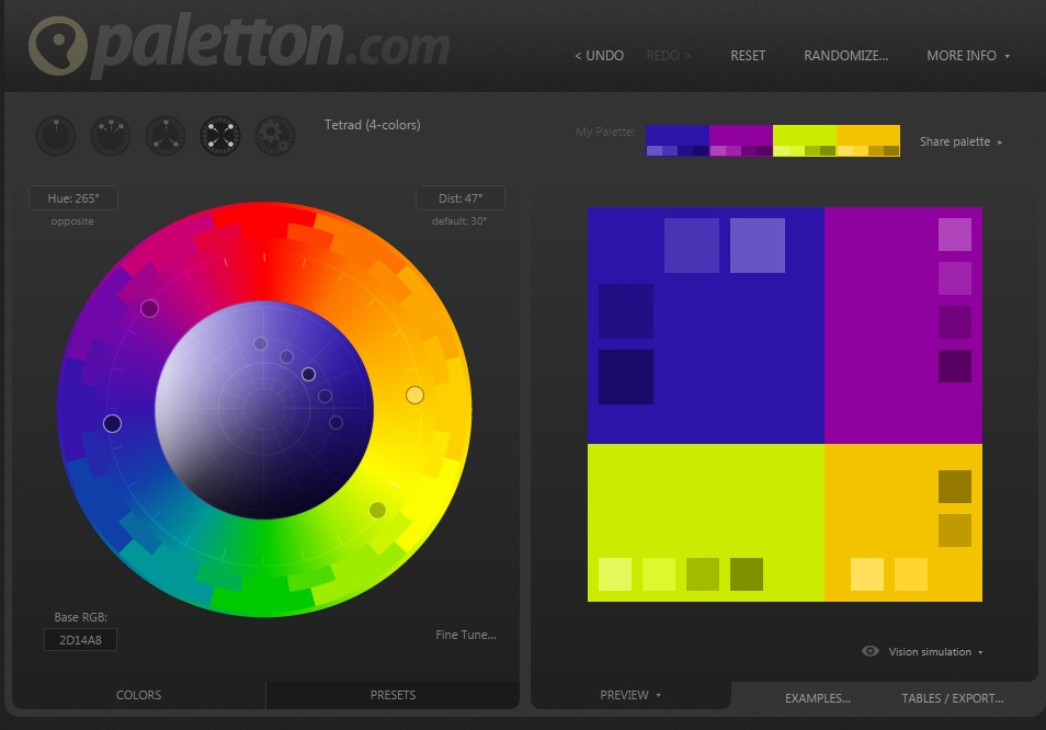 Tetrad color scheme using the tool at paletton.com