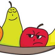 cartoon orange, pear, apple and banana characters with faces showing attitude, personality or mood.