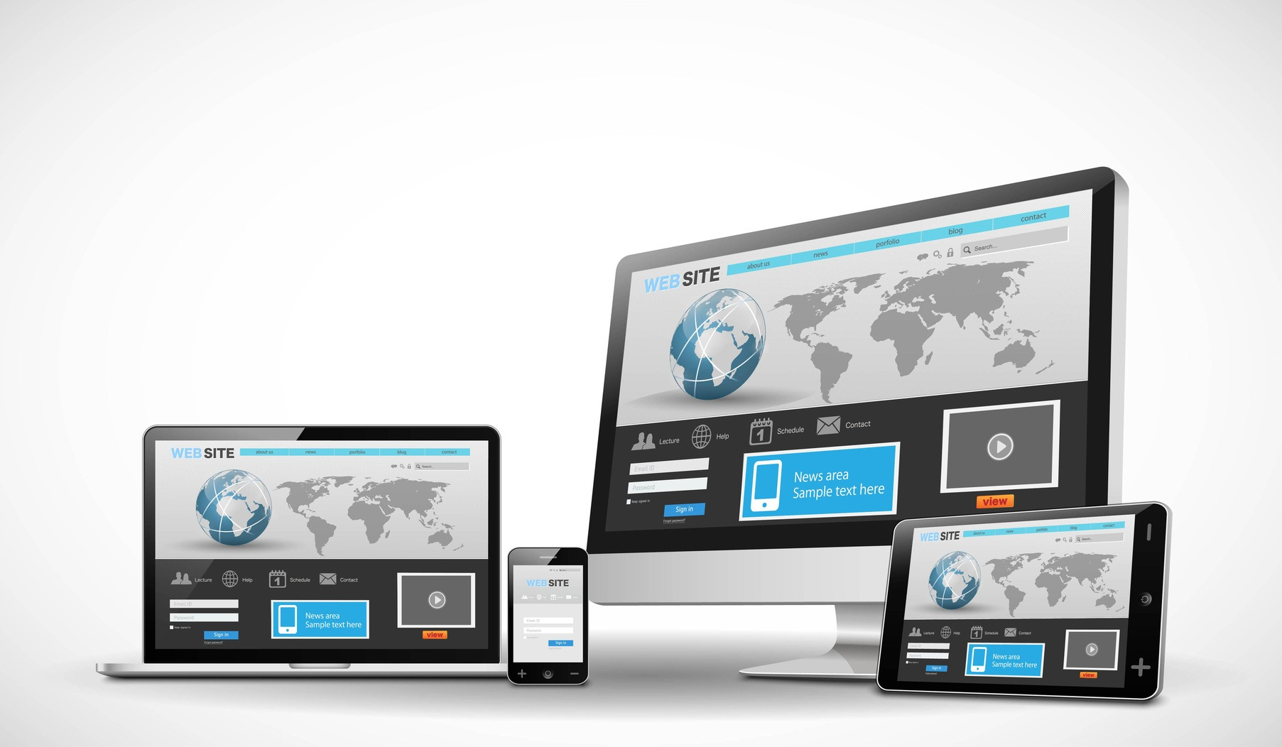 multiple devices showing generic web site
